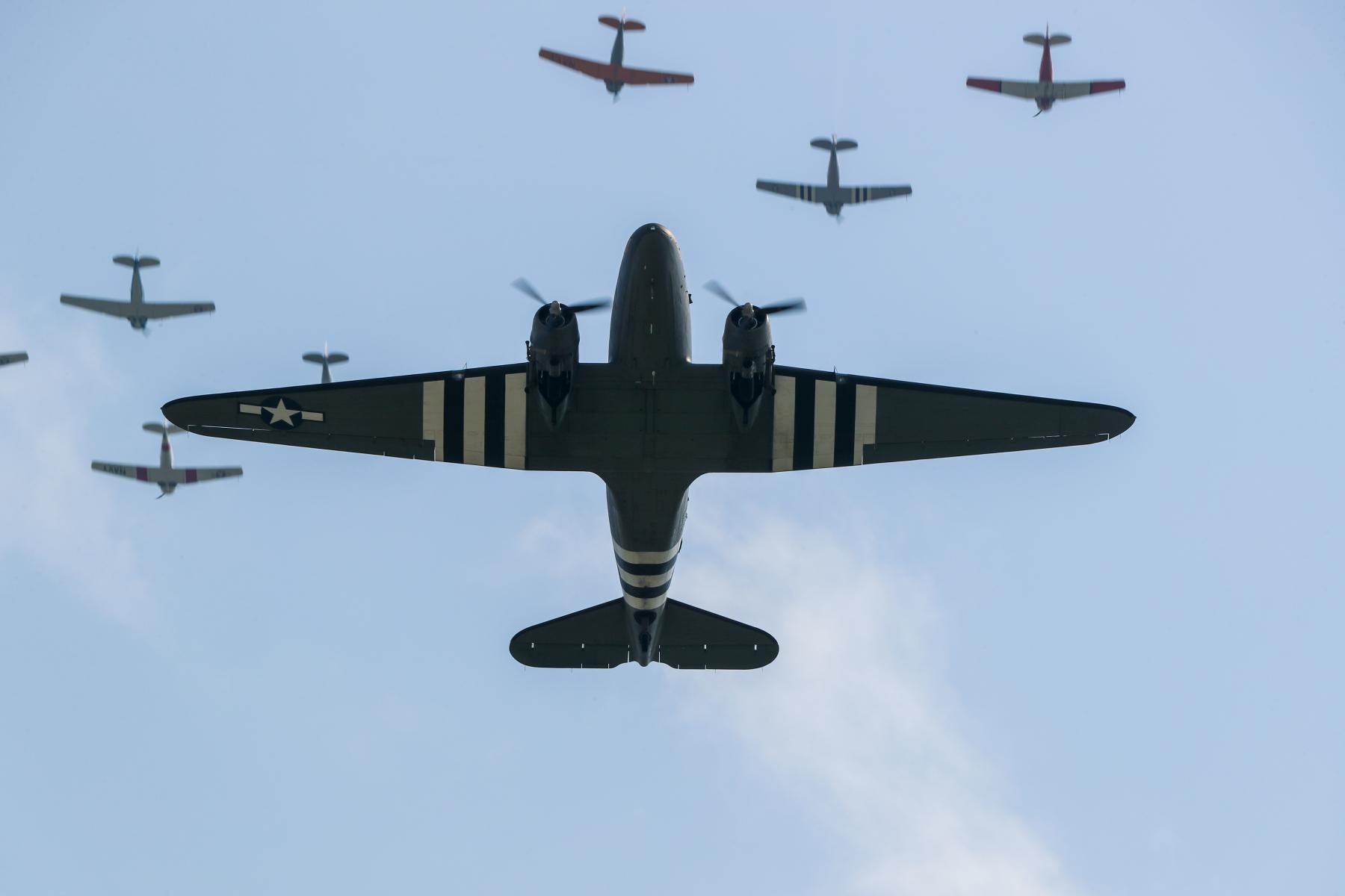 C-47 with Invasion Stripes by Art Eichmann