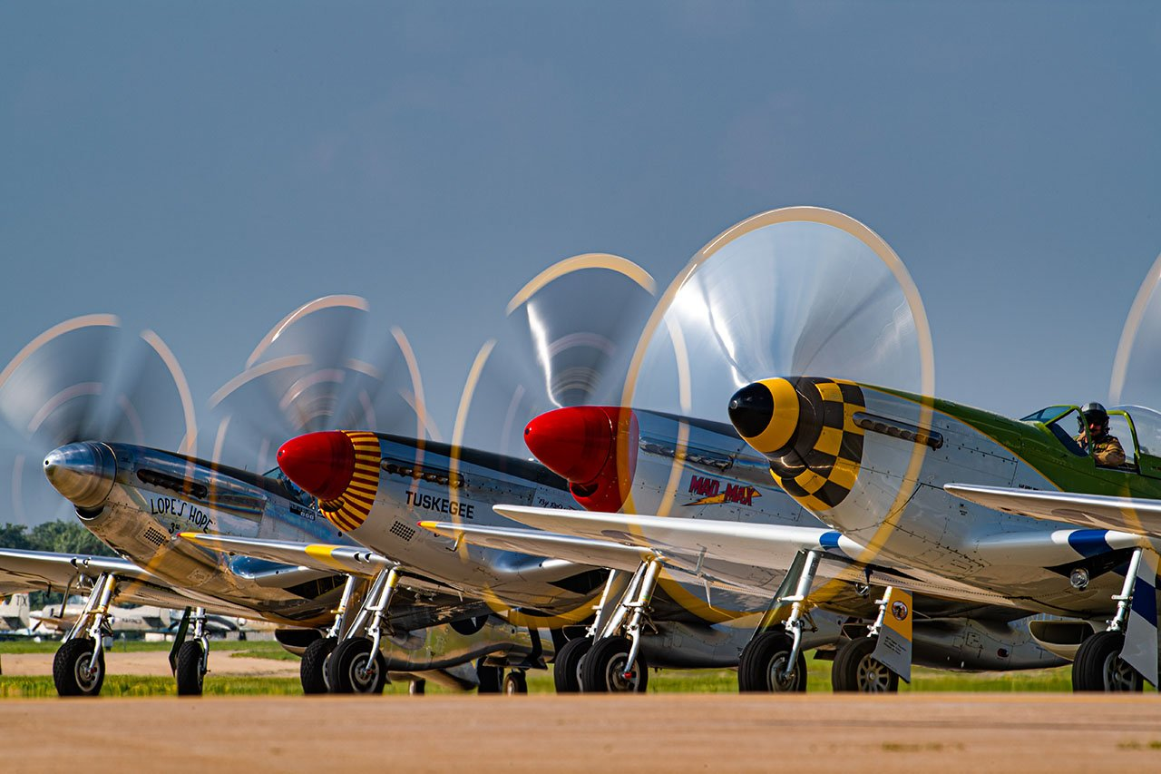 Lineup of P-51s