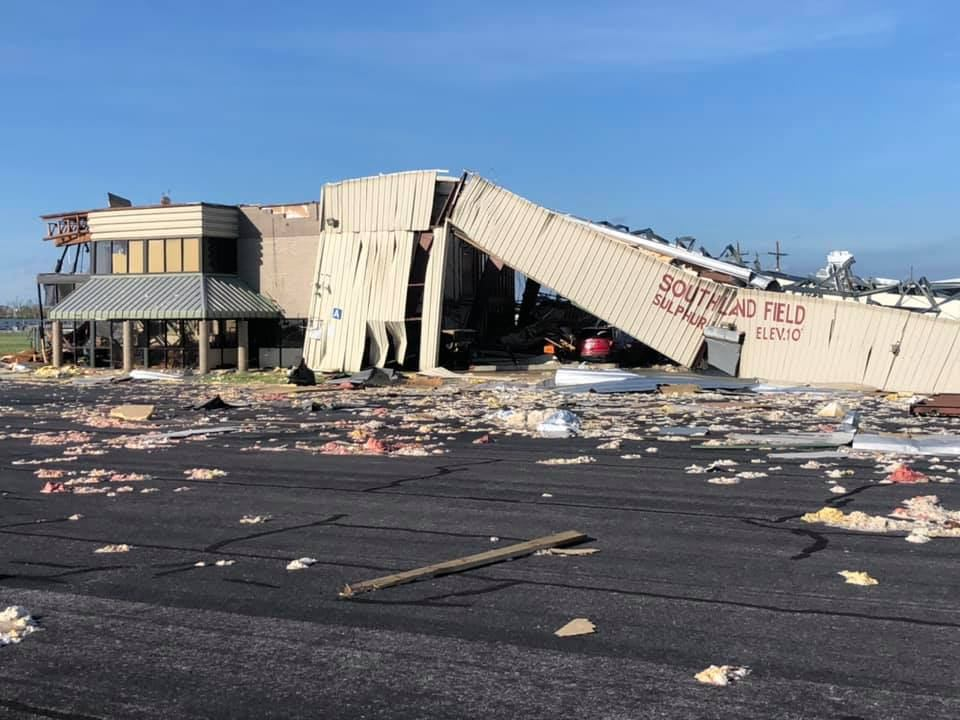 Hurricane Laura damage at Southland Field
